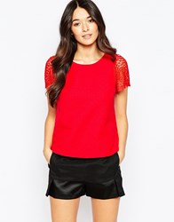Traffic People Bonnie Top With Lace Sleeves Red