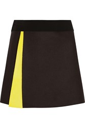 Victoria Beckham Wrap Felted Wool Blend Mini Skirt Black