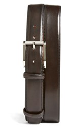 Men's Big And Tall Santoni Leather Belt Dark Brown