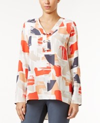 Alfani Printed Lace Up Top Only At Macy's Brushed Peices Tropical Reef