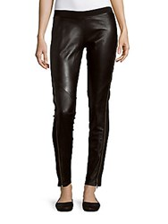 Sandro Prive Leather Panel Pants Black