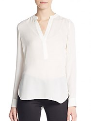 Vince Silk Roll Tab Blouse Off White