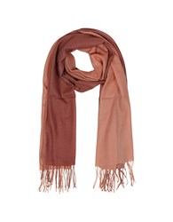 Mila Schon Long Scarves Gradient Brick Coral Wool And Cashmere Fringed Stole