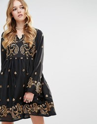 Glamorous Long Sleeved Skater Dress With Baroque Embroidery Black