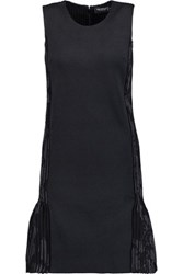 Pringle Of Scotland Ribbed Silk Jacquard And Knitted Mini Dress Charcoal