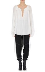 Chloe Women's Ruched Bell Sleeve Blouse White