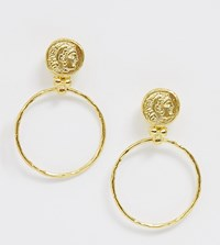 Ottoman Hands Gold Plated Hammered Coin Statement Hoop Earrings