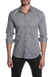 Jared Lang Plaid Semi Fitted Long Sleeve Shirt Gray