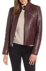 Andrew Marc New York Smooth Leather Moto Jacket Bordeaux