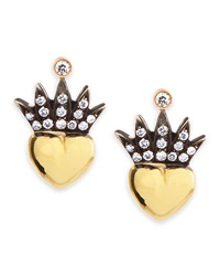 Heart And Pave Diamond Crown Stud Earrings Irit Design