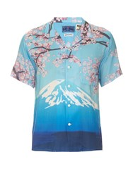 Blue Blue Japan Mountain Print Hawaiian Shirt Blue Multi