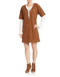 424 Fifth Faux Suede Shift Dress Chestnut