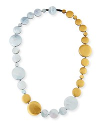 Viktoria Hayman Single Strand Mother Of Pearl Disc Station Necklace Gold Silver