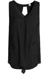 Oak Draped Crepe De Chine Top Black
