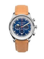 Jack Mason Nautical Stainless Steel And Italian Leather Sunray Dial Chronograph Strap Watch Silver