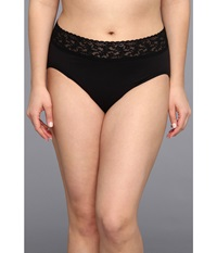 Hanky Panky Plus Size Organic Cotton Signature Lace French Brief Black Women's Underwear