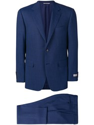 Canali Micro Check Suit Blue