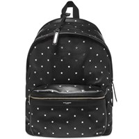 Saint Laurent Silver Star Leather City Backpack Black