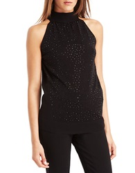 Kenneth Cole Addison Rhinestone Embellished Sweater Jet Black