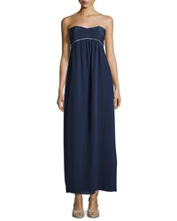 Sail To Sable Strapless Pleated Empire Waist Maxi Dress Navy