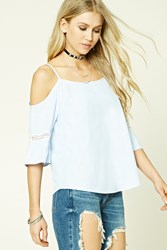 Forever 21 Open Shoulder Pinstripe Top Blue White