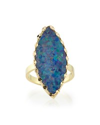 Frosted Boulder Opal Ring With Chain Detail Lana Gold