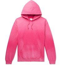 Sasquatchfabrix. Distressed Logo Print Fleece Back Cotton Blend Jersey Hoodie Pink