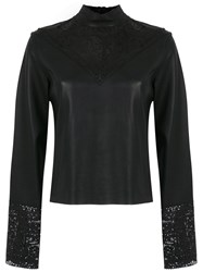 Spacenk Nk Leather Top With Lace Details Black