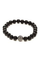 Stephen Oliver Sterling Silver Black Onyx Stretch Bracelet Beige