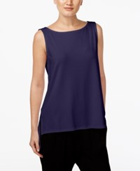 Eileen Fisher High Low Boat Neck Shell Midnight
