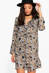Boohoo Belle Paisley Print Shirt Dress Multi