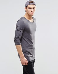 Asos Longline Muscle Long Sleeve T Shirt With Scoop Neck In Gray Charcoal