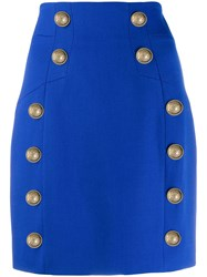 Balmain Button Detailed Mini Skirt Blue