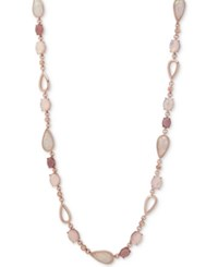 Anne Klein Rose Gold Tone Pink Stone Strand Necklace