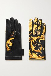 Versace Printed Leather Gloves Black