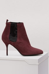 Pierre Hardy Joe 80Mm Suede And Satin Ankle Boots Bordeaux