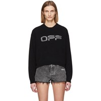 Off White Black Logo Knit Sweater