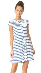 Alice Olivia York Button Down Dress Off White Blue