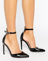 Little Mistress Pointed Court Heeled Shoes With Ankle Strap Black