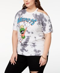 Hybrid Plus Size Tie Dyed Graphic Cold Shoulder T Shirt Created For Macy's Charcoal