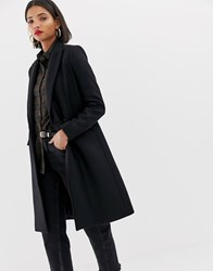 Mango Double Button Front Tailored Coat In Black