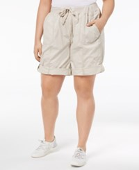 Calvin Klein Performance Plus Size Ribbed Waistband Convertible Shorts Sand