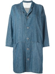 Plantation Oversized Pockets Denim Coat Blue