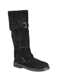 Ann Demeulemeester Slouchy Suede Moto Boots Black