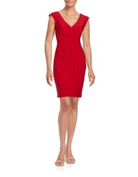 Betsy And Adam V Neck Sheath Dress Red