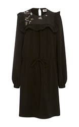 Sonia Rykiel By Embellished Ruffled Crepe Dress Black