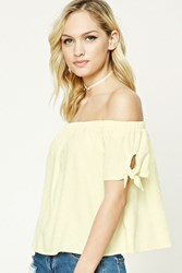 Forever 21 Contemporary Knotted Sleeve Top Light Yellow