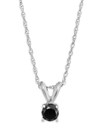 Macy's Black Diamond Round Pendant Necklace In 10K White Gold 1 10 Ct. T.W.