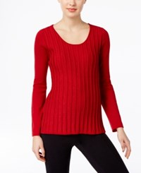 Ny Collection Petite Metallic Stripe Sweater Red