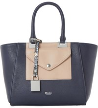 Dune Deanne Faux Leather Winged Tote Navy Plain Synthetic